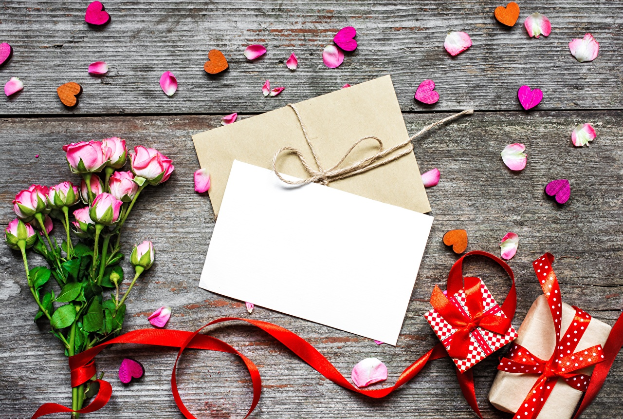 Image Valentine's Day Heart Sheet of paper Roses Petals Gifts Flowers Letter message Template greeting card rose flower present