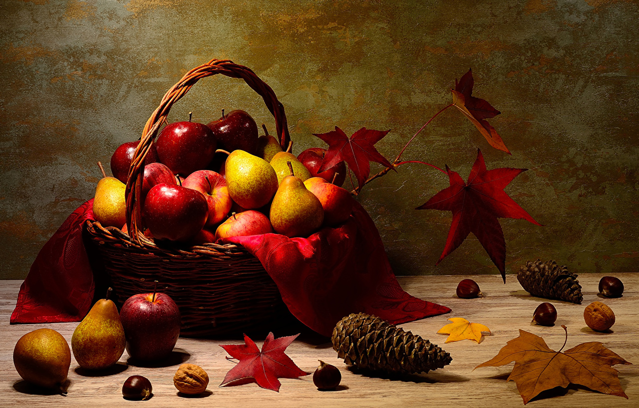 Photo Leaf Acorn Pears Apples Wicker basket Food Pine cone Nuts Wood planks Foliage Conifer cone boards