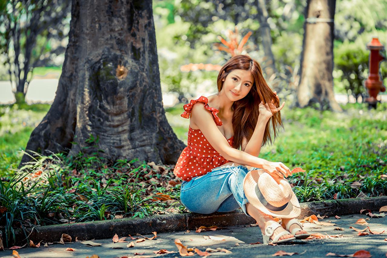Foto Braunhaarige Bluse Der Hut Mädchens Jeans Asiaten sitzen Blick Braune Haare junge frau junge Frauen Asiatische asiatisches sitzt Sitzend Starren
