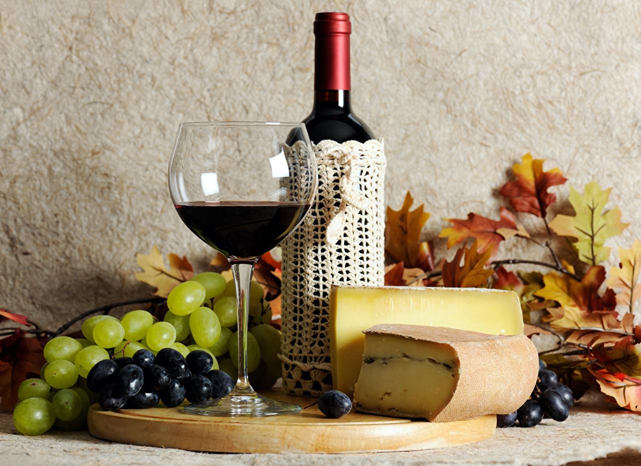 Обои вино, wine, виноград, Grapes, сыр, бутылка, красное, cheese. Еда foto 15