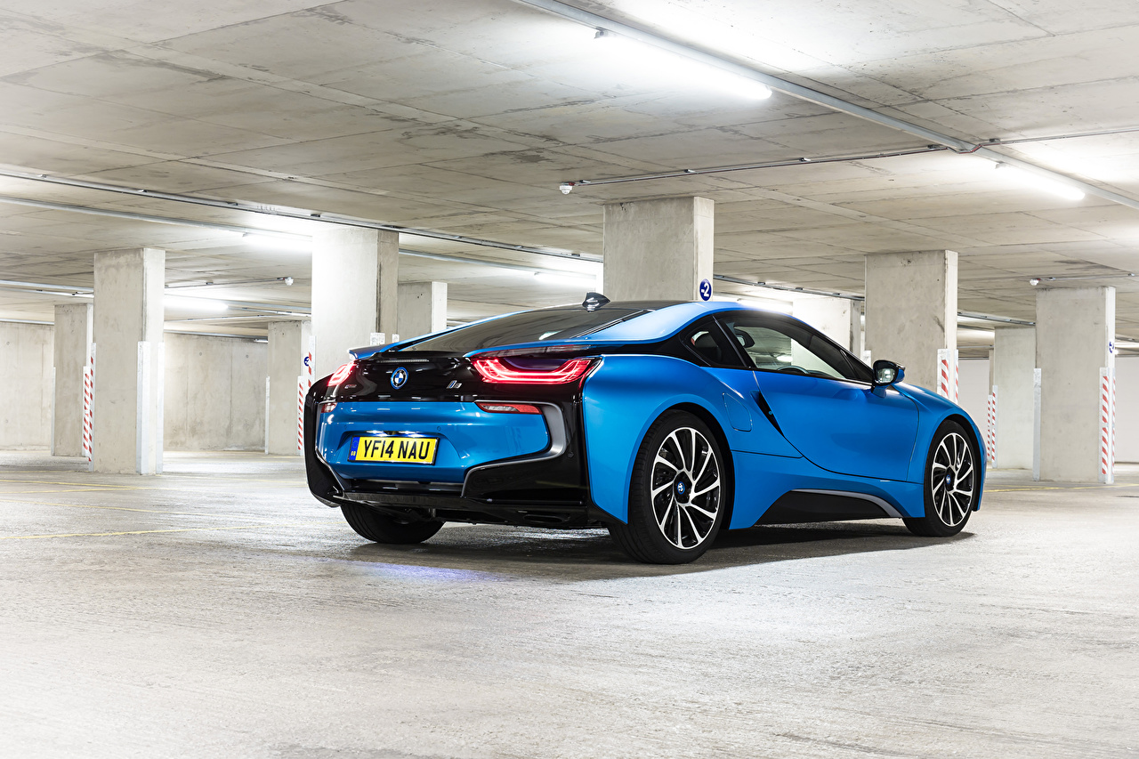 Photos BMW 2014 i8 Light Blue Cars Back view auto automobile