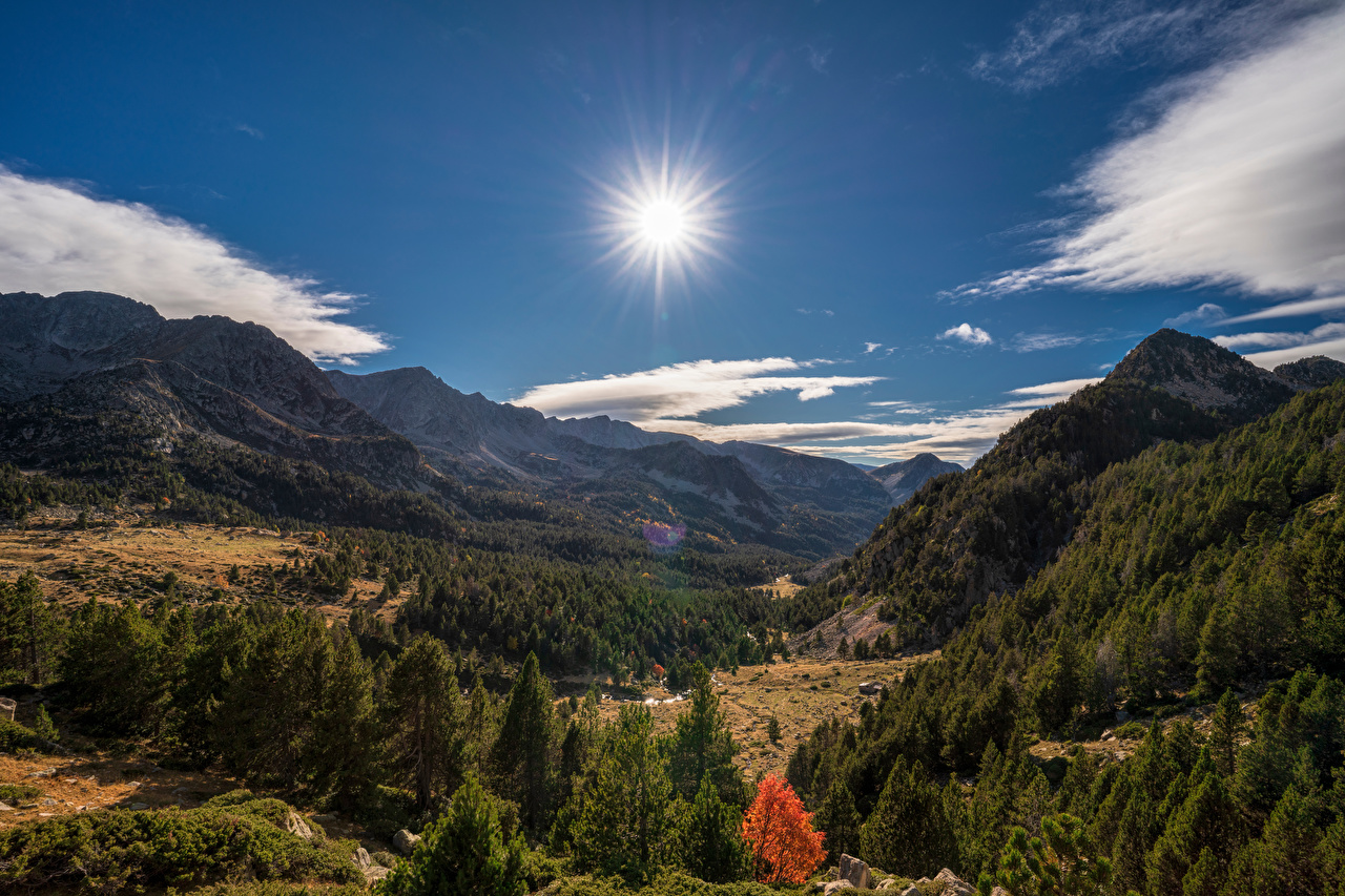 Desktop Wallpapers Andorra Pyrenees Valley Sun Nature Mountains Sky Scenery mountain landscape photography