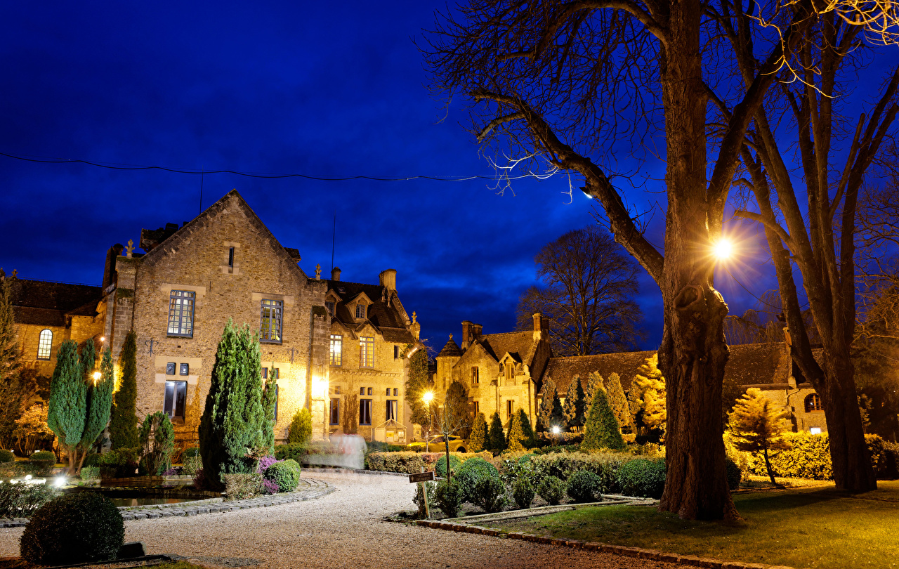 Picture France Abbaye Des Vaux De Cernay Hotel Night Street lights Trees Houses Cities Landscape design night time Building