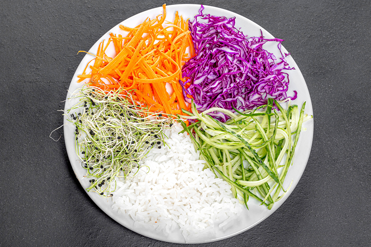 Image Rice Carrots Cabbage Cucumbers Food Plate Vegetables Sliced food Gray background