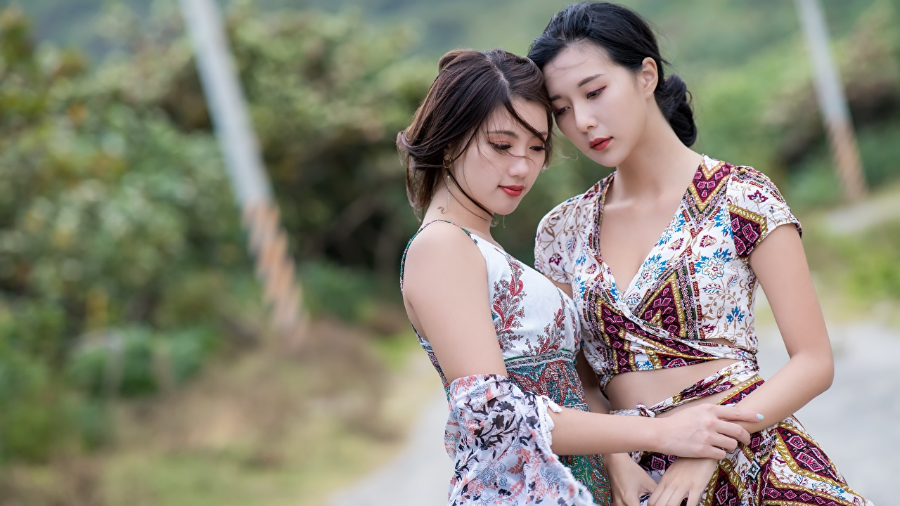 Photos Brunette girl blurred background Two young woman Asian Hands Bokeh 2 Girls female Asiatic
