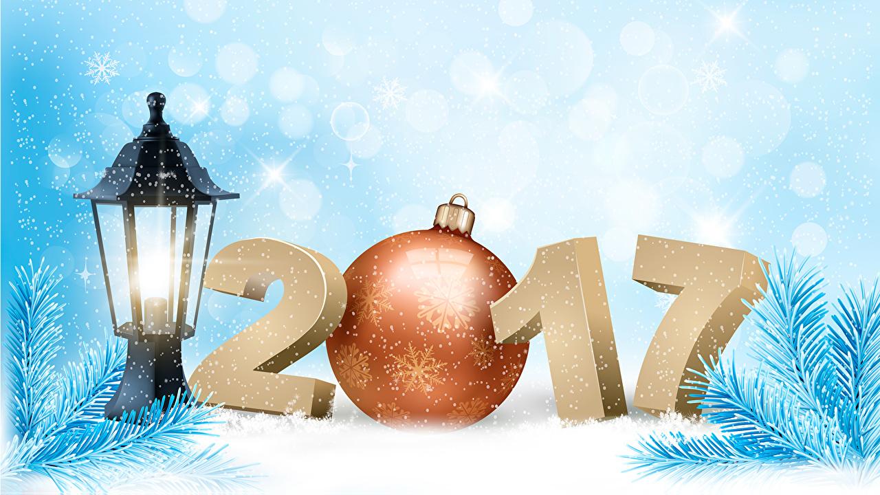 Photo 2017 New Year Lantern Snowflakes Balls Branches