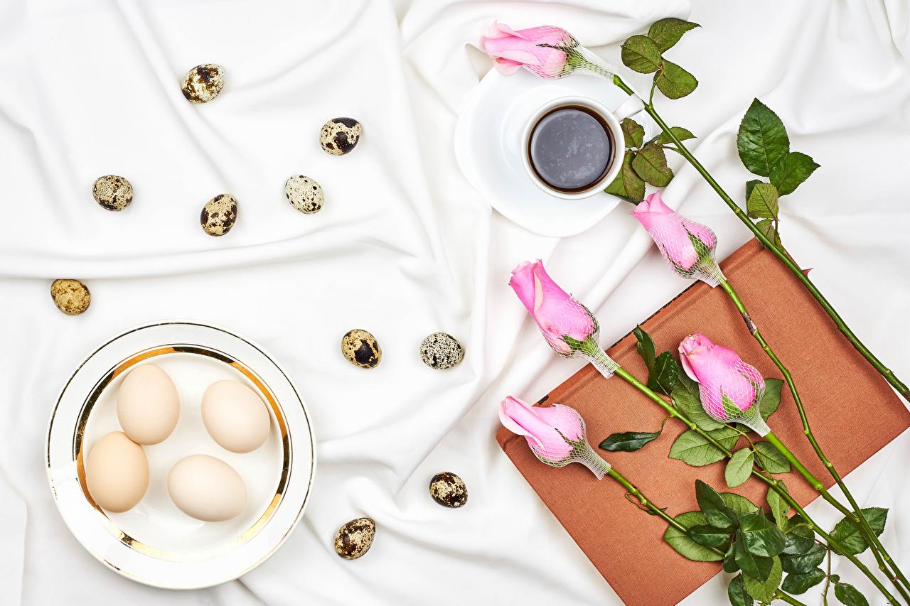 Desktop Hintergrundbilder Ostern eier Rosen Kaffee Rosa Farbe Blumen Buch Tasse Teller das Essen Ei Rose Blüte Bücher Lebensmittel