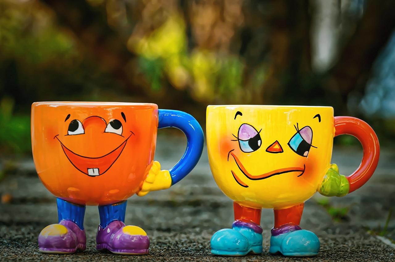 Images Humor Joy Sadness Funny Two Mug funny happy joyful sad gloomy sorrow 2