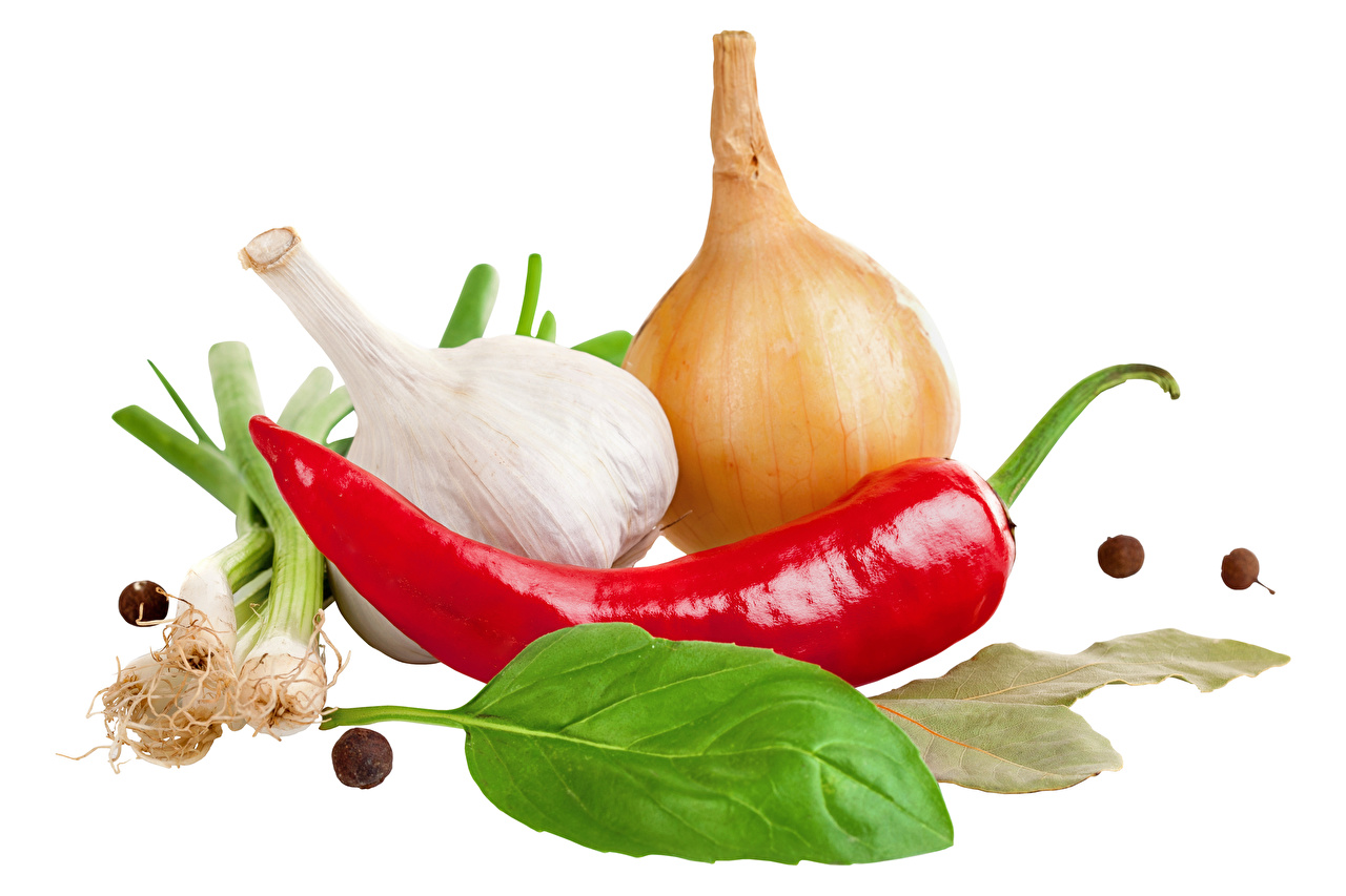 Picture Onion Chili pepper Garlic Food White background Allium sativum