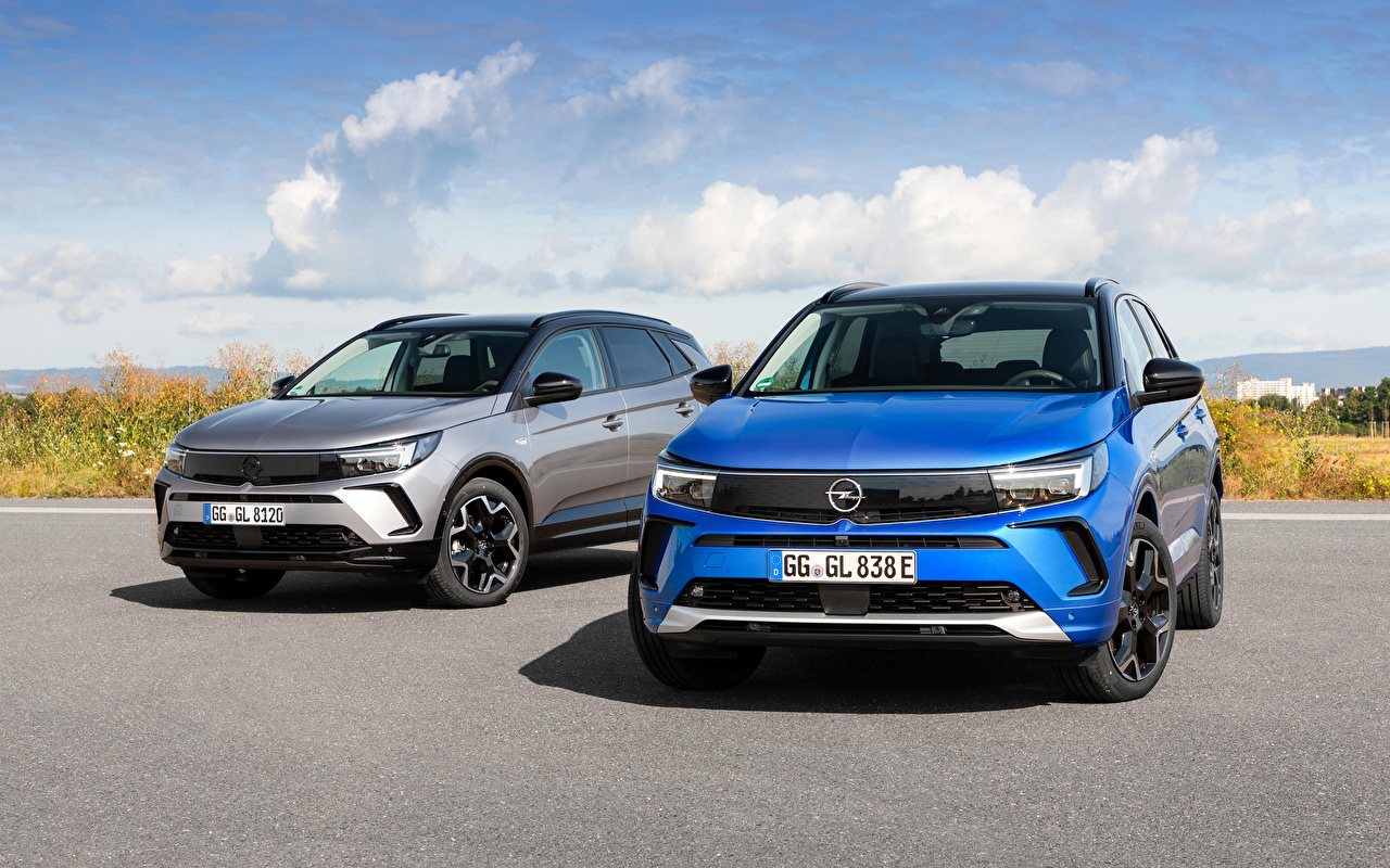 Pictures Opel Grandland, 2017 -- Two Blue gray Cars Metallic 2 Grey auto automobile