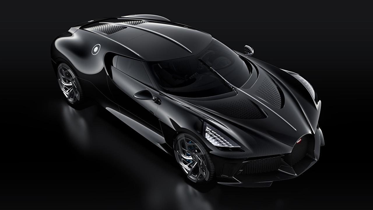 Photos BUGATTI La Voiture Noire Black auto Black background Cars automobile