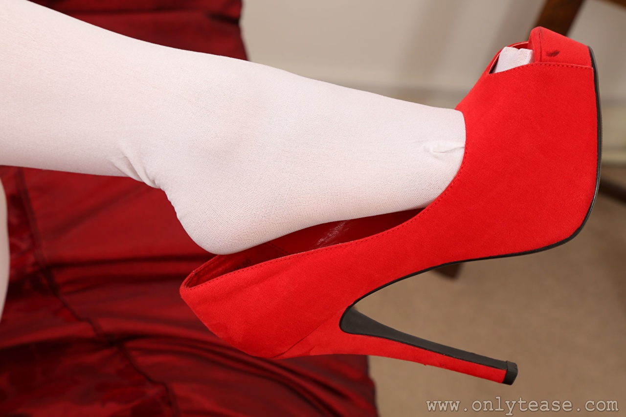 Pictures Pantyhose Red female Legs Closeup high heels Girls young woman Stilettos