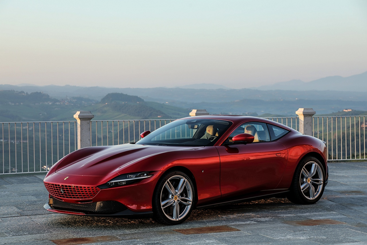 Pictures Ferrari Roma, 2020 Coupe Wine color Metallic automobile maroon burgundy dark red Cars auto