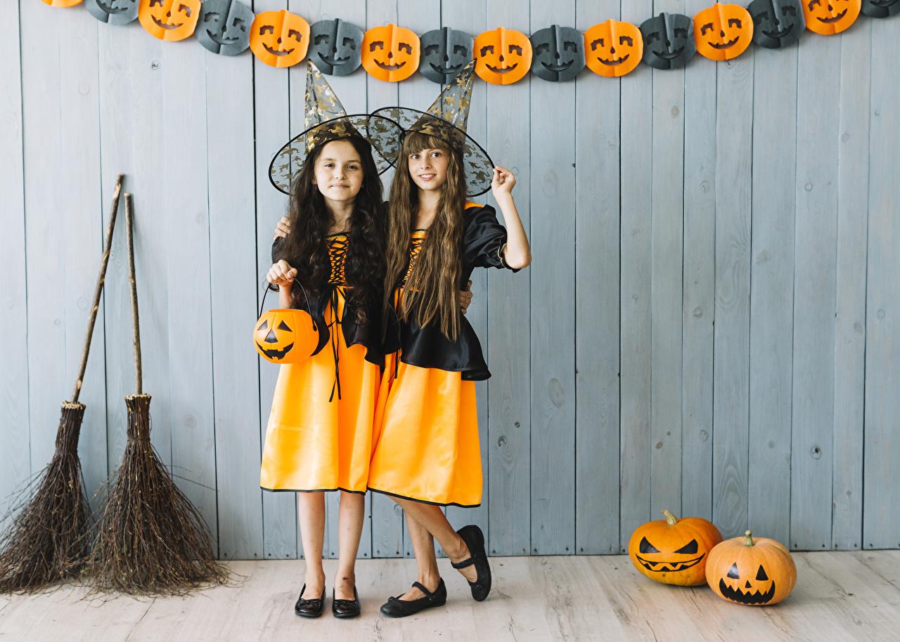 Photo Little girls child 2 Hat Pumpkin Halloween Children Two