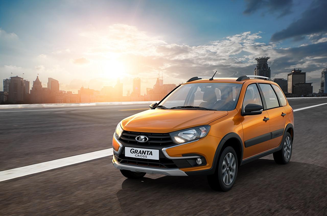 Lada Carros russos 2018 Granta Cross Movimento Laranja Metálico carro, automóvel, automóveis, velocidade Carros