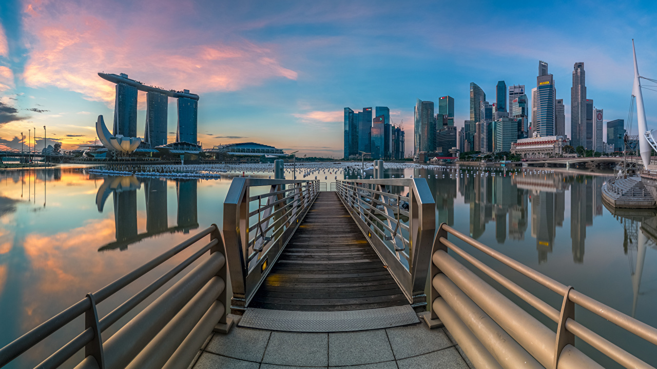 Pictures Singapore Marina Bay Morning Skyscrapers Cities Building Houses