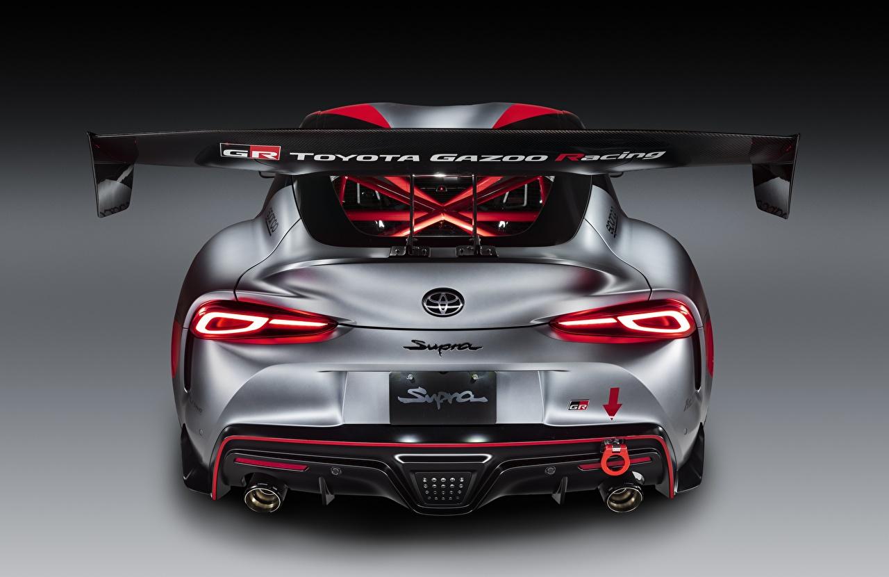 Tapety Toyota GR Supra Track Concept, 2020 Coupé szara samochód Widok z tyłu Szary Samochody