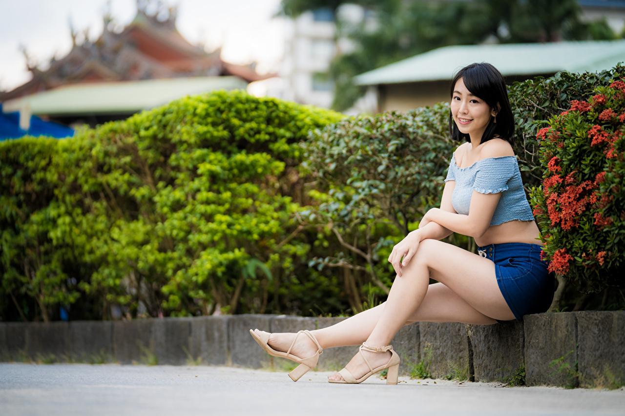 Fotos von Brünette Mädchens Bein Asiatische sitzt Starren junge frau junge Frauen Asiaten asiatisches sitzen Sitzend Blick
