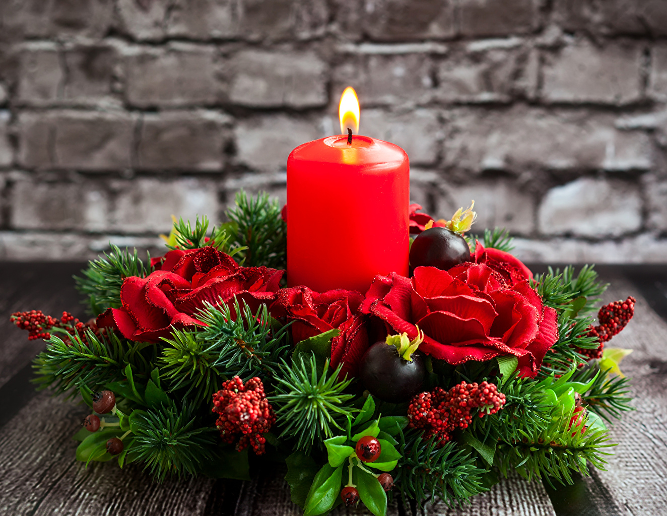 Desktop Wallpapers New year rose Candles Branches Holidays