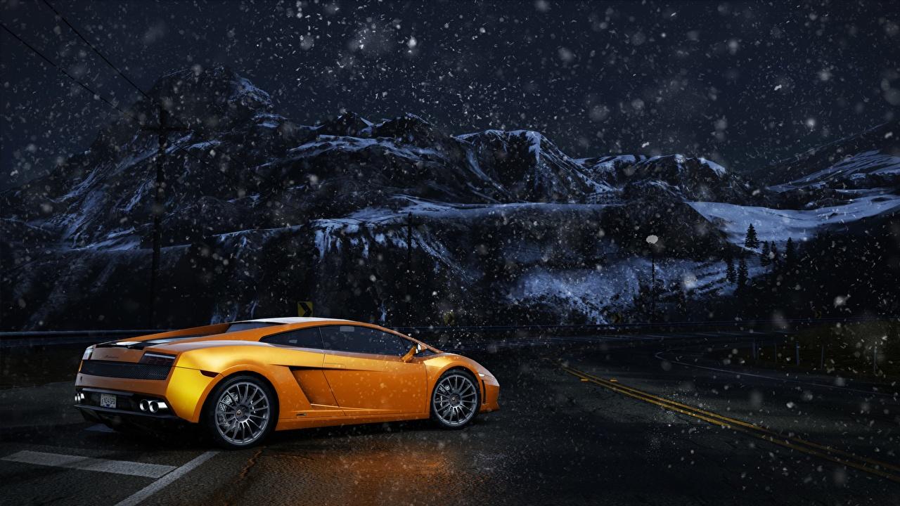 Picture Need for Speed Lamborghini Gallardo Gold color Cars Night auto night time automobile