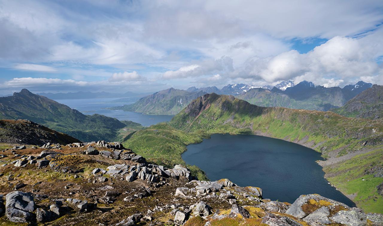 Desktop Hintergrundbilder Lofoten Norwegen Natur Gebirge See Landschaftsfotografie Wolke Berg