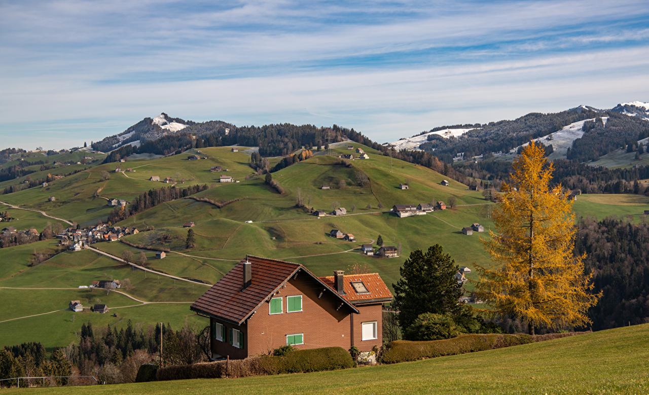 Photos Alps Switzerland Toggenburg Nature Autumn Mountains Houses mountain Building