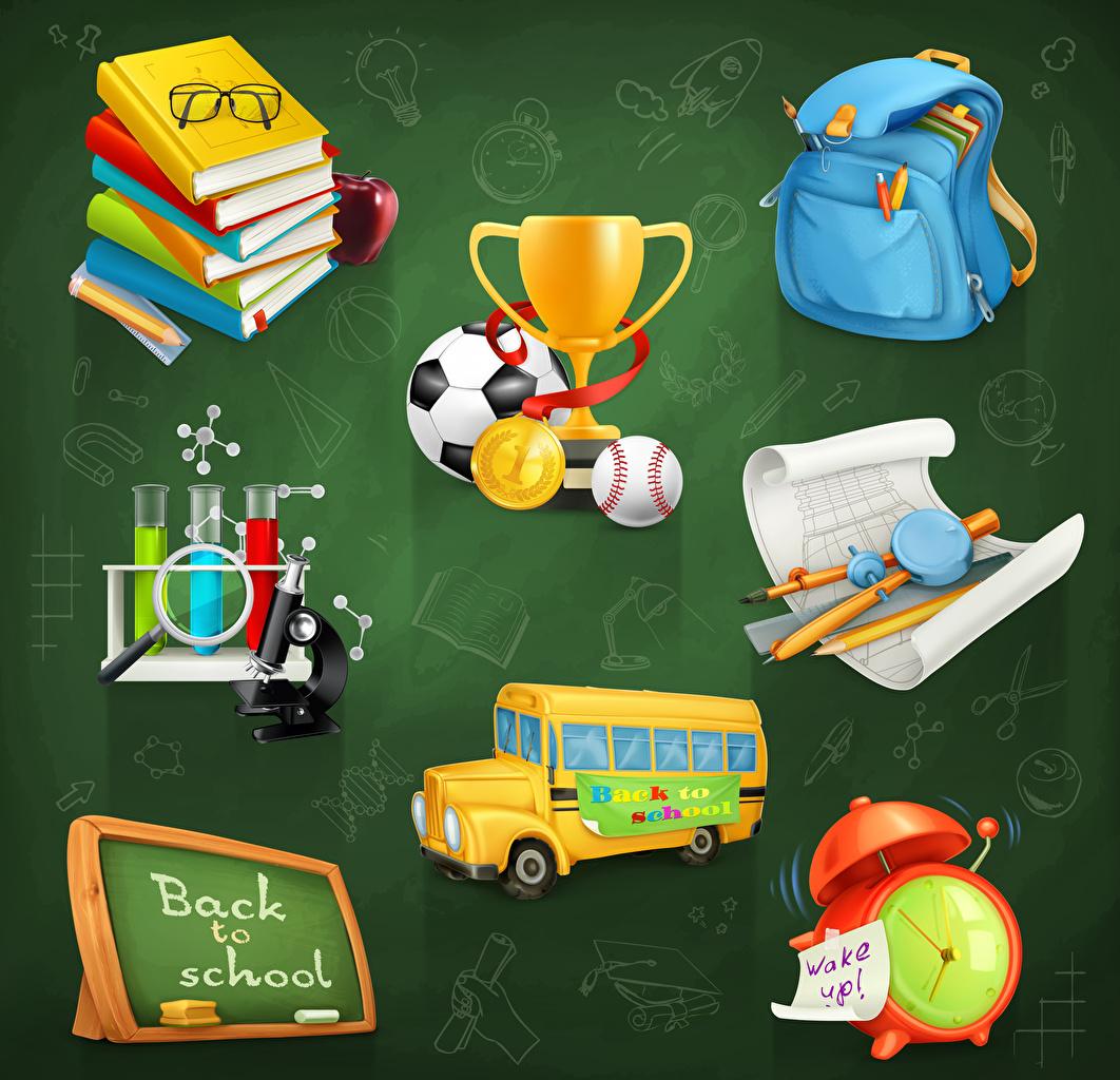 Image eyeglasses Bus Clock Alarm clock Book Ball Handbag Colored background Vector Graphics School Glasses purse books