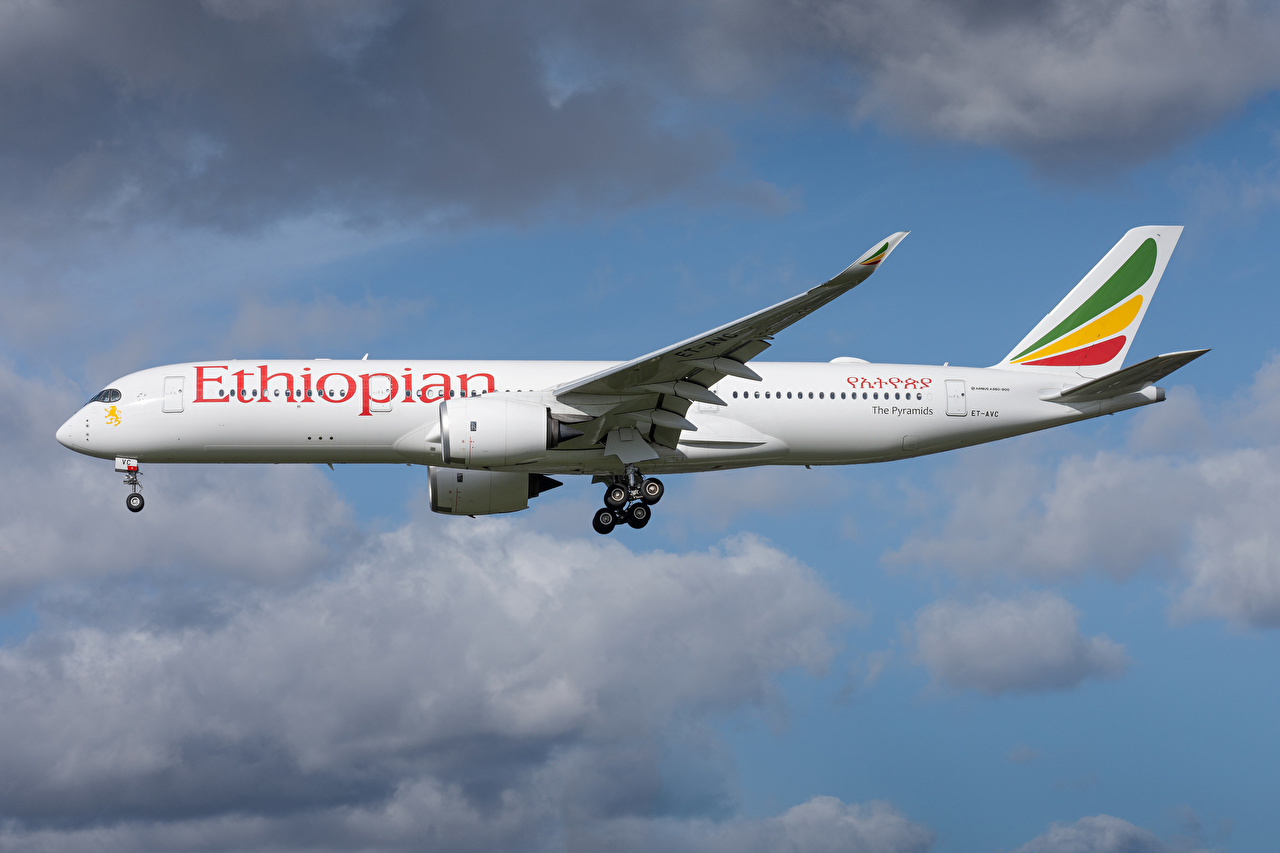 Bilder von Airbus Flugzeuge Verkehrsflugzeug Ethiopian Airlines, A350-900 Seitlich Luftfahrt