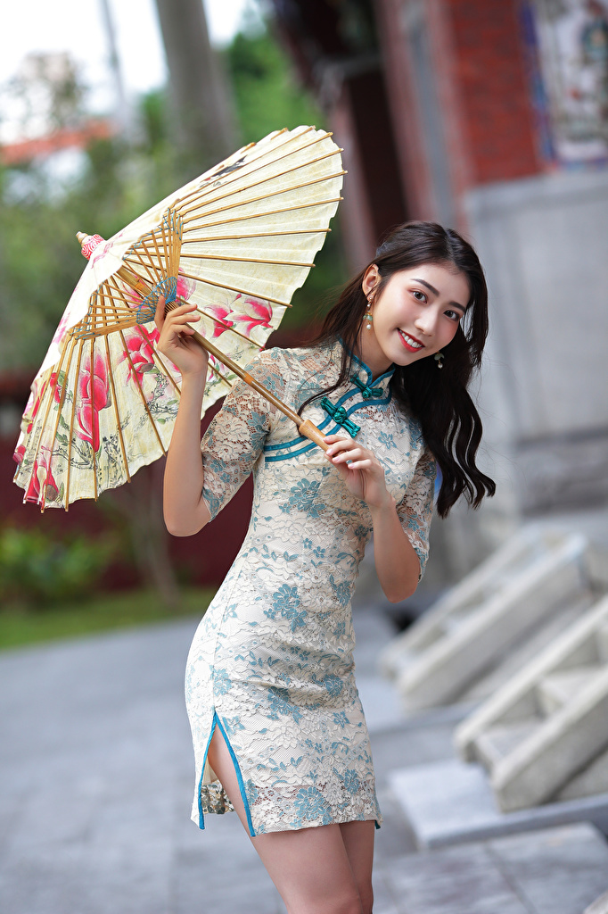 Picture Smile young woman Asiatic parasol Glance frock  for Mobile phone Girls female Asian Umbrella Staring gown Dress