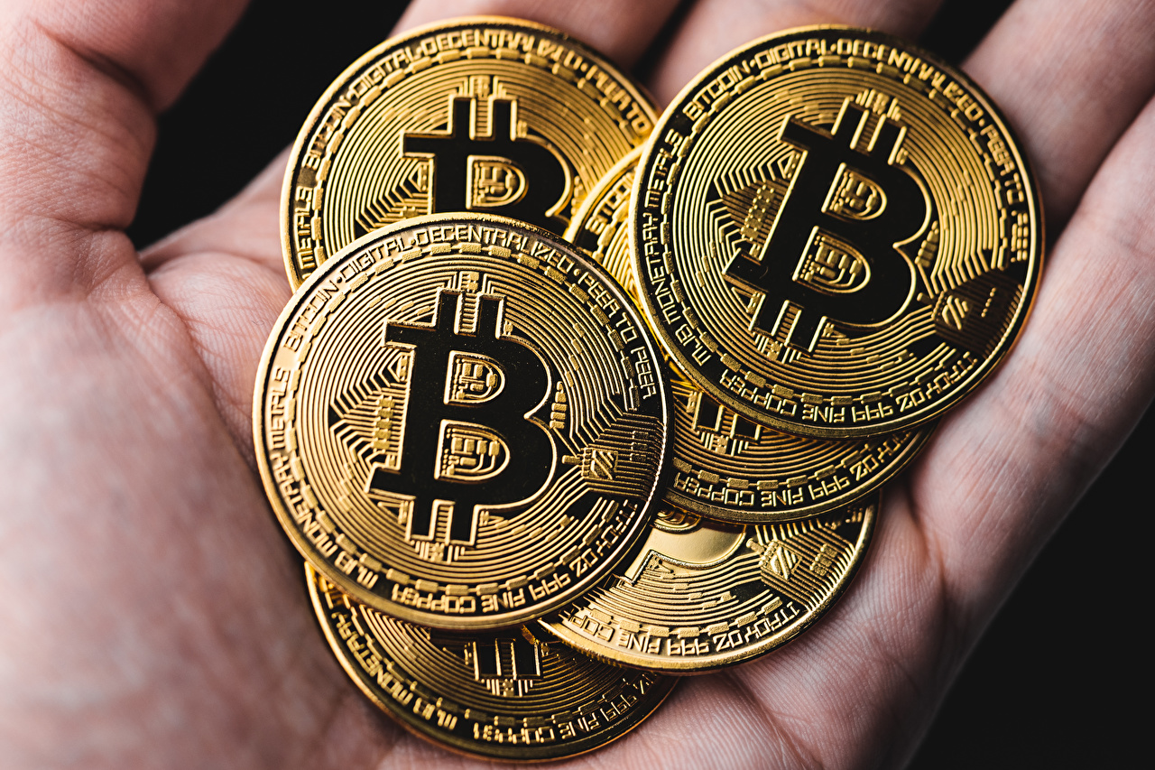 Picture Bitcoin Gold color Money Closeup