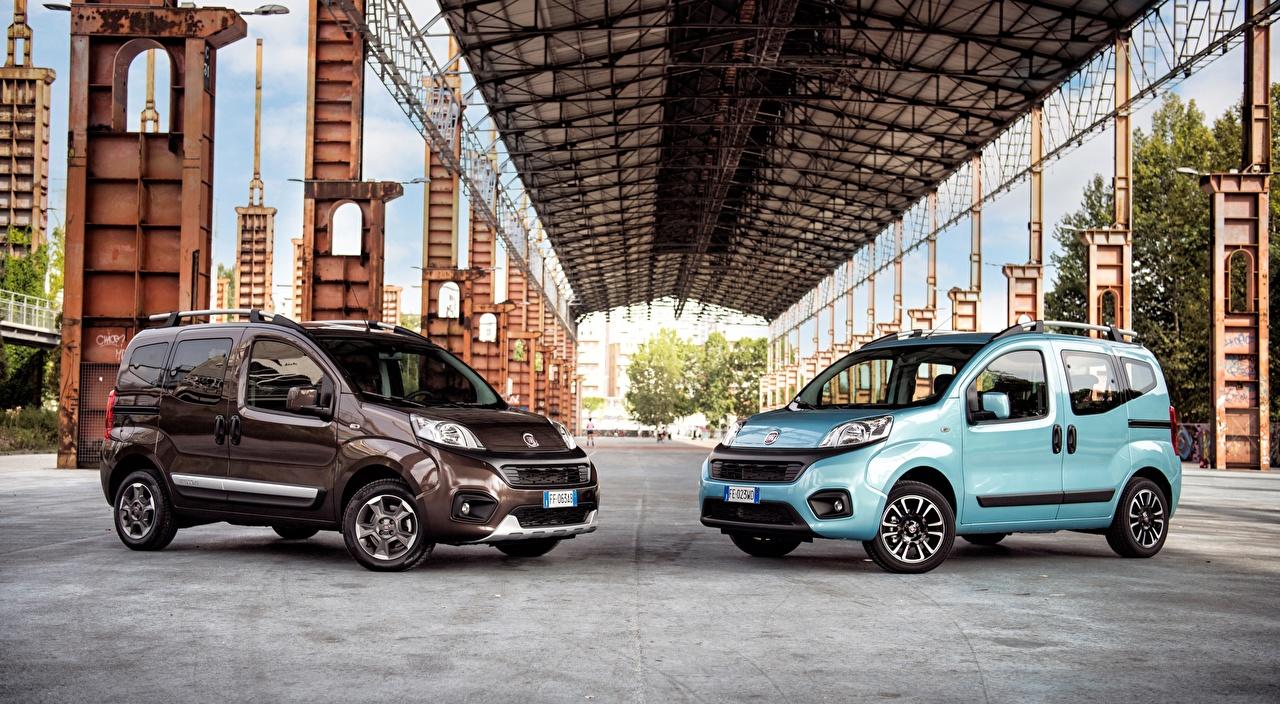 Photo Fiat Qubo, Trekking, 2016 Minivan Two Light Blue auto Metallic 2 Cars automobile
