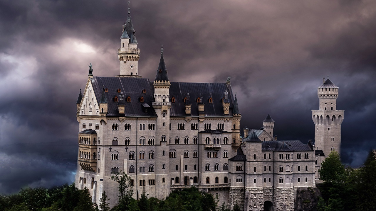 Pictures Bavaria Neuschwanstein Germany Tower Thundercloud castle Nature Trees towers storm cloud Castles
