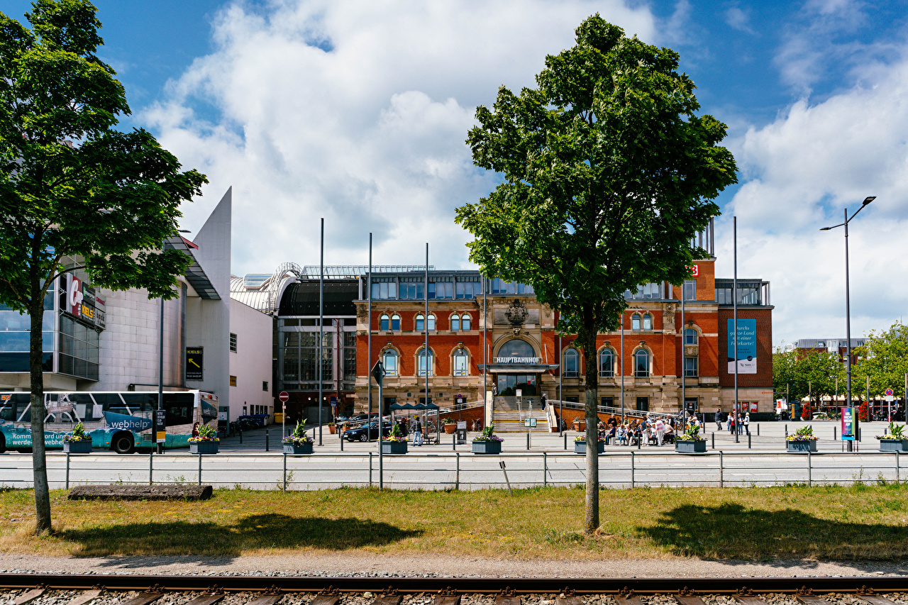 Images Germany Kiel central train station Fence Trees Houses Cities Building