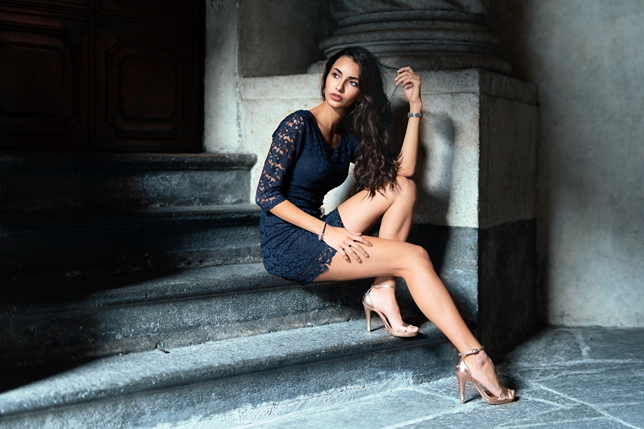 Picture Brunette girl Girls stairway Legs sit Hands gown Stilettos Stairs female staircase young woman Sitting frock Dress high heels