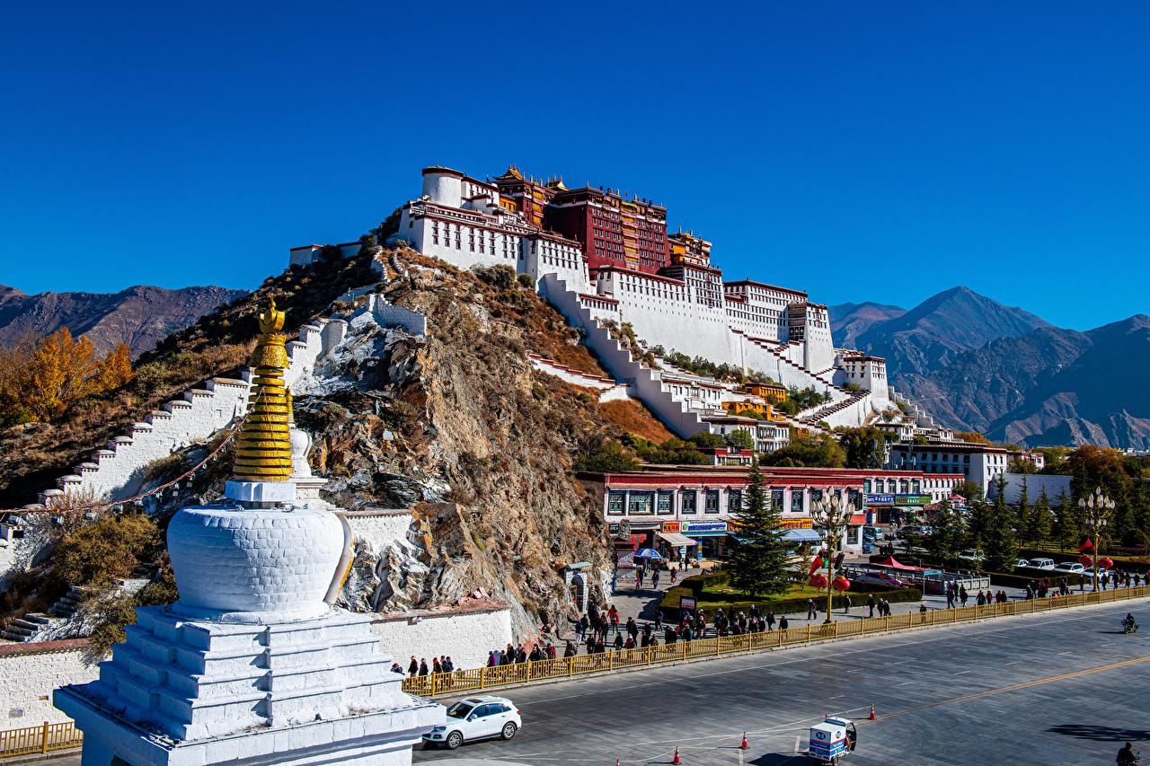 、中華人民共和国、山、寺院、Potala Palace, Lhasa、宮殿、都市、