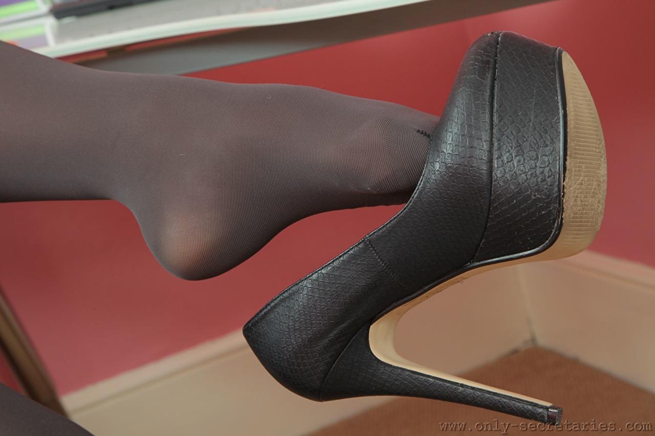 Desktop Hintergrundbilder Strumpfhose Mädchens Bein Großansicht Stöckelschuh junge frau junge Frauen hautnah Nahaufnahme High Heels