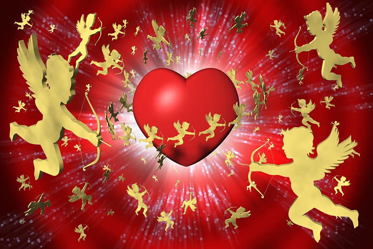 Bilder Valentinstag Herz 3D-Grafik Engeln Viel