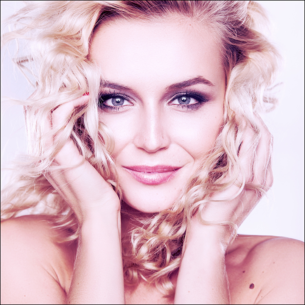 Photos Polina Gagarina Blonde girl Smile Face Hair Music young woman Hands Staring Celebrities Girls female Glance