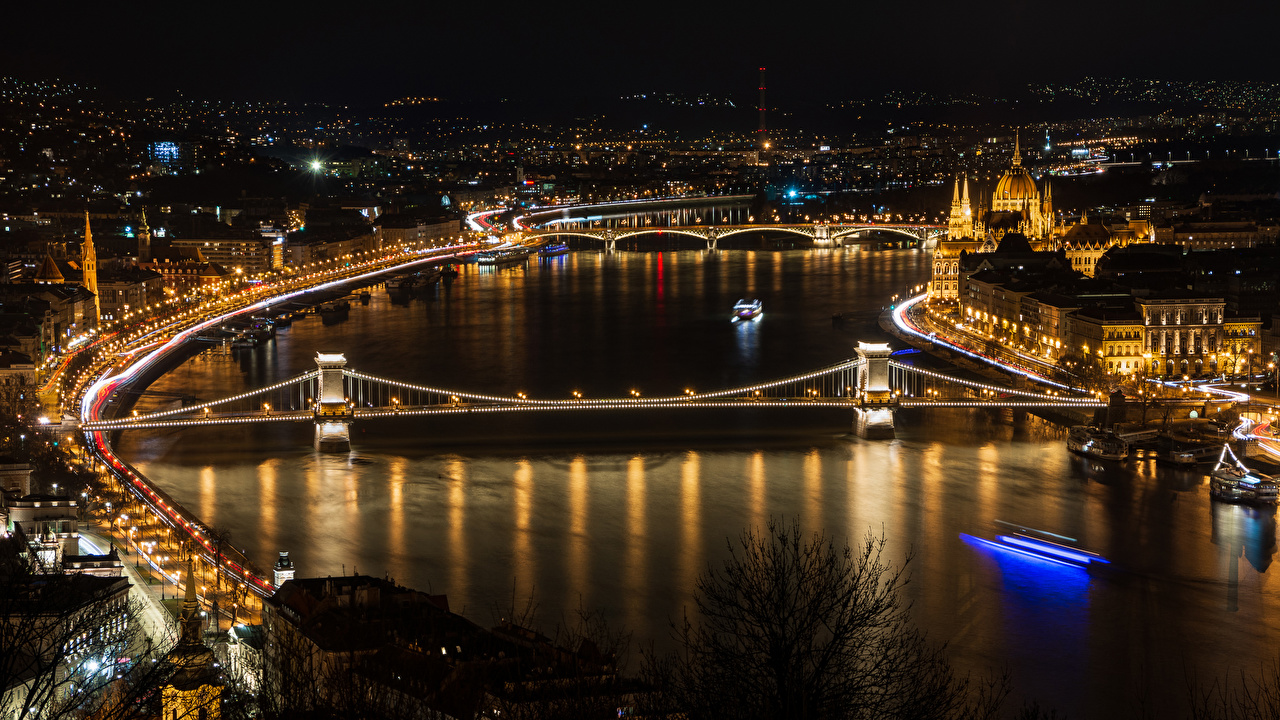 Pictures Budapest Hungary Bridges Night Rivers Street lights Cities Houses bridge river night time Building