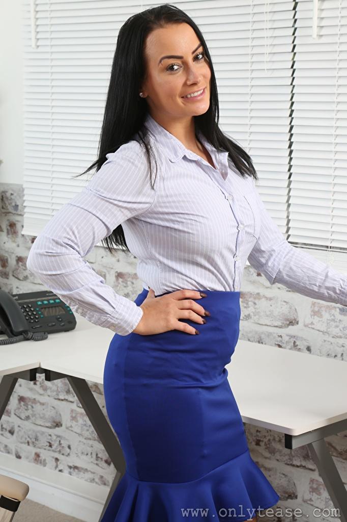 Desktop Wallpapers Kelli Smith Skirt Brunette girl Secretaries Smile young woman Hands Glance  for Mobile phone Girls female Staring