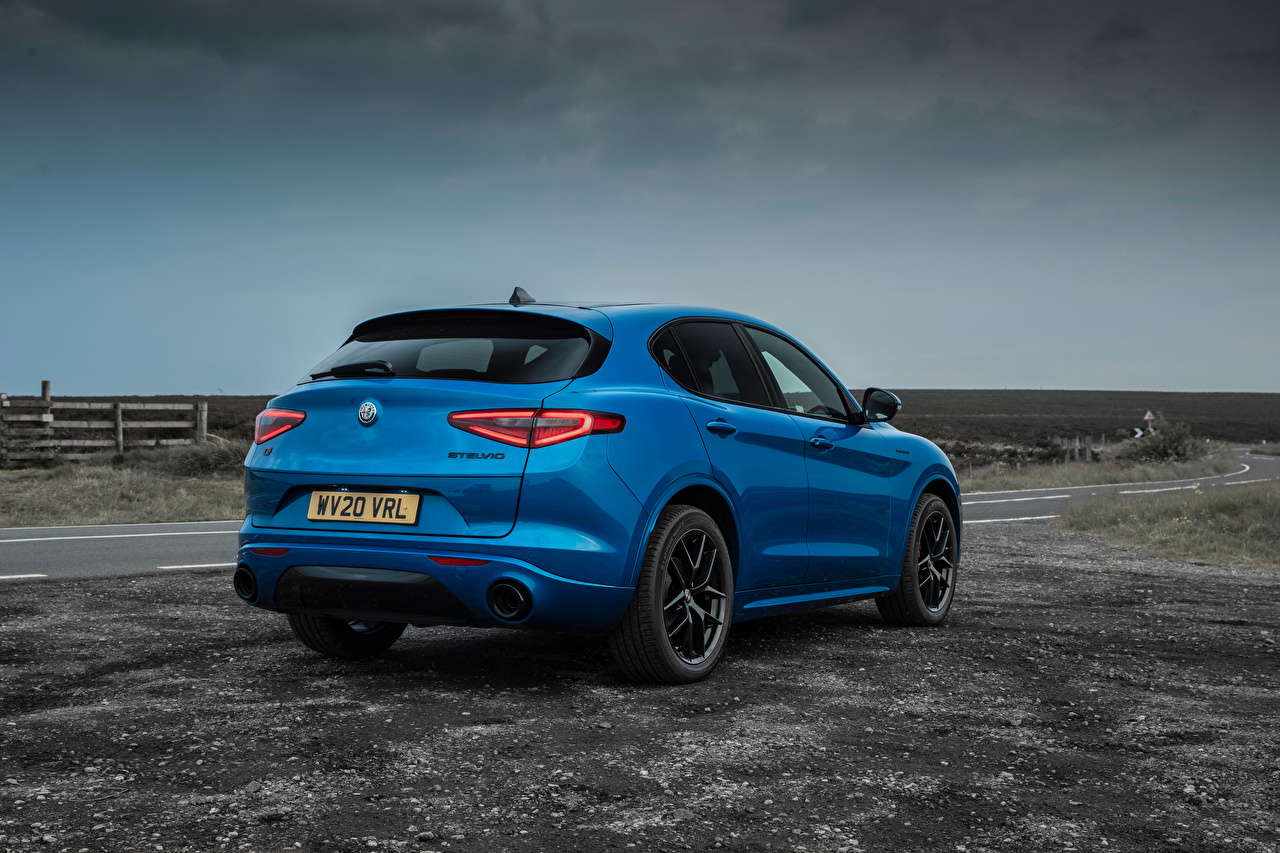 Wallpaper Alfa Romeo CUV Stelvio Veloce UK-spec, 949, 2020 Blue Cars Metallic Back view Crossover auto automobile