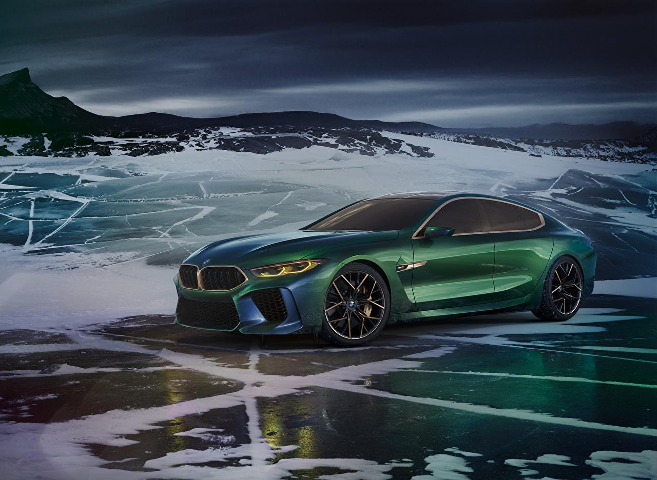 壁紙、BMW、2018 Concept M8 Gran Coupe、緑、自動車、ダウンロード、写真