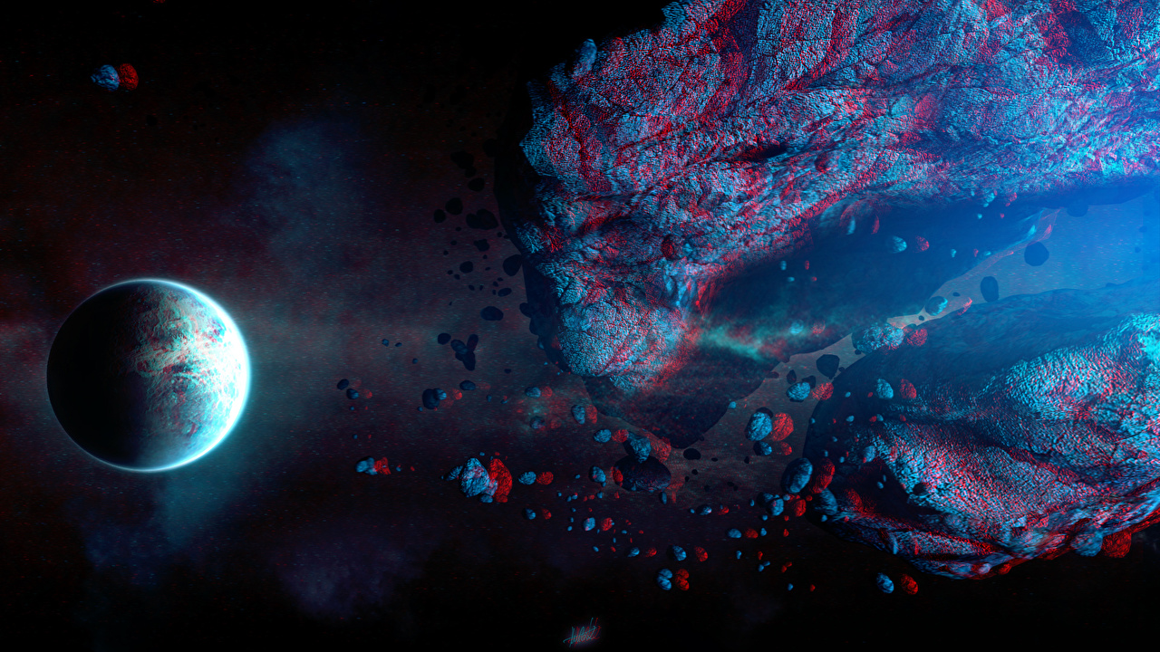 Photos Planets asteroid Space 3D Graphics planet Asteroids
