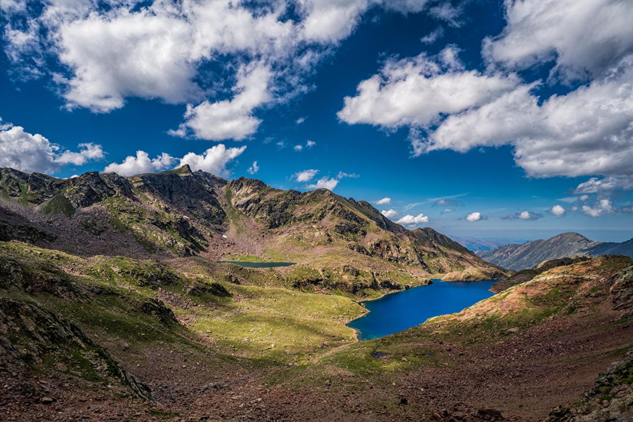 Desktop Wallpapers France Auzat Nature mountain Sky Lake landscape photography Clouds Mountains Scenery