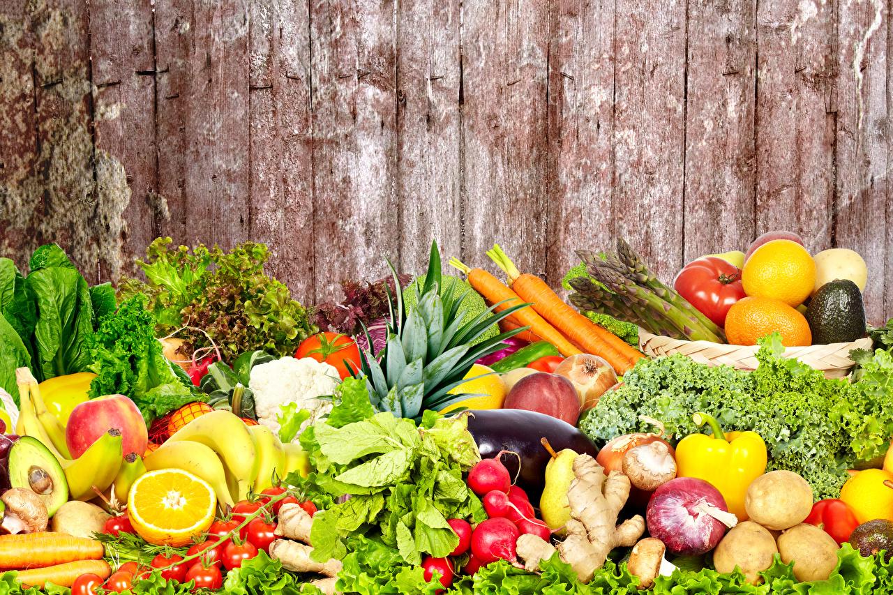 Image Food Fruit Vegetables Many Wood planks