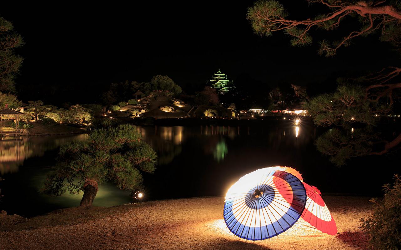 、日本、ガーデン、池、Okayama、夜、傘、街灯、庭園、自然