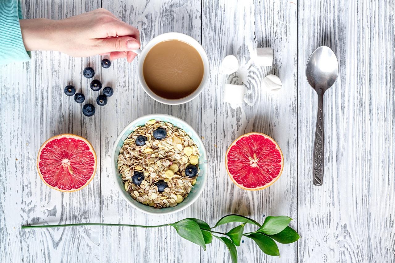 Photo Food Spoon Grapefruit Oatmeal Bowl boards Muesli Breakfast Wood planks