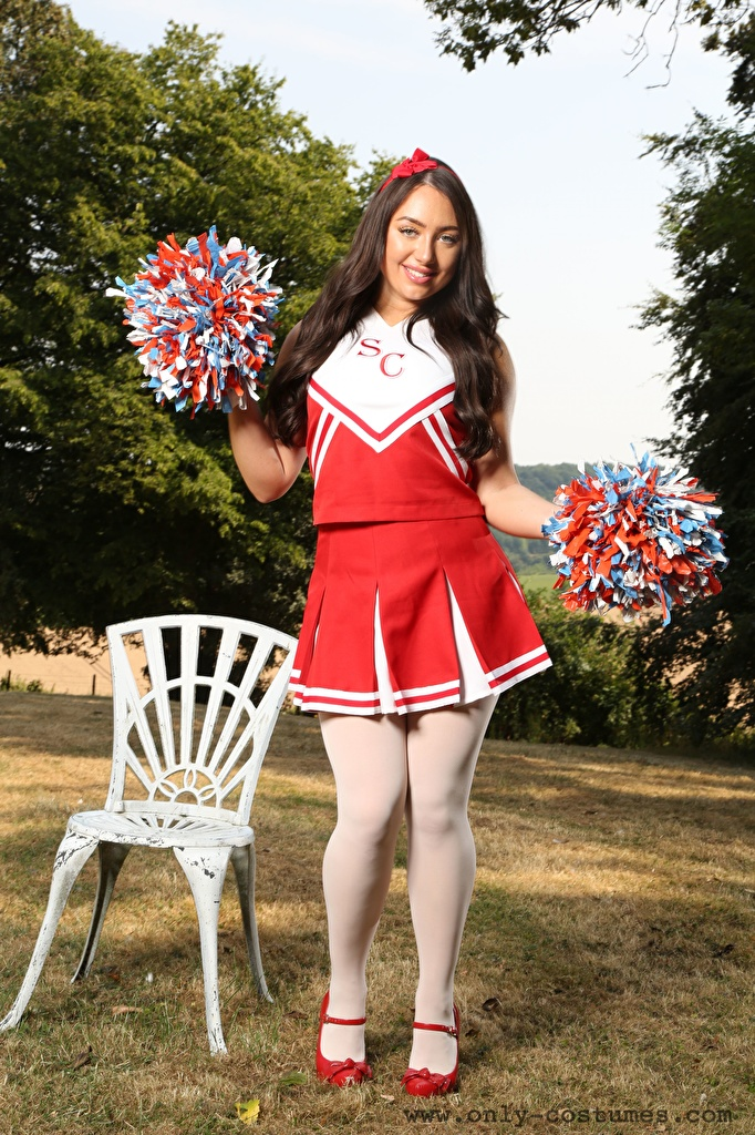 Photo Reanna Only Cheerleader Brunette girl Smile Pose Girls Legs Grass Chair Uniform  for Mobile phone posing female young woman Chairs