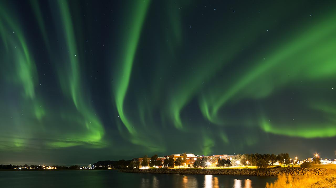 、空、ノルウェー、夜、オーロラ、都市、
