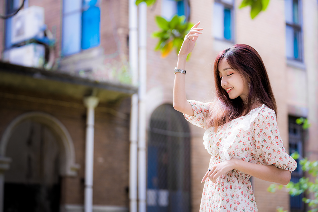 Images Smile Bokeh posing Girls Asian Hands gown blurred background Pose female young woman Asiatic frock Dress
